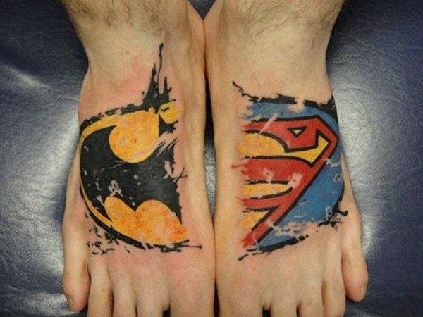 Best Foot Tattoo Designs and Ideas13- Batman Superman Tattoo