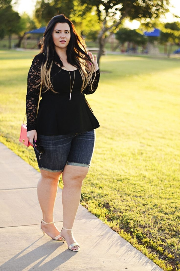 Cute Curvy Girl Fashion Outfits and Ideas (47)- bermuda shorts peplum shirt