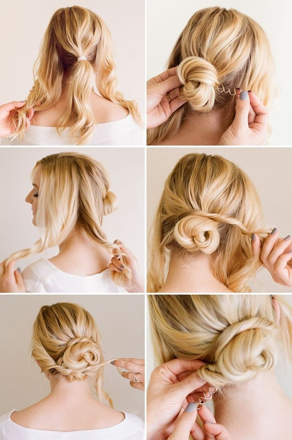Lovely Easy Bun Hairstyles For Long Hair And Medium Hair17