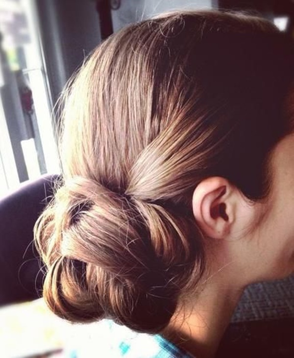 Easy Bun Hairstyles for Long Hair and Medium Hair67-low chignon bun
