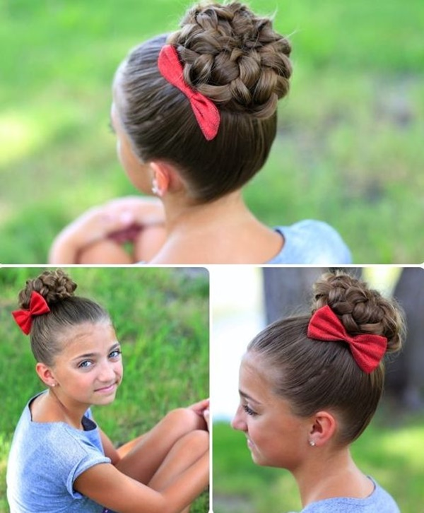 How To Easy Messy Bun Hairstyle With Braids Hairstyles For Medium Long Hair