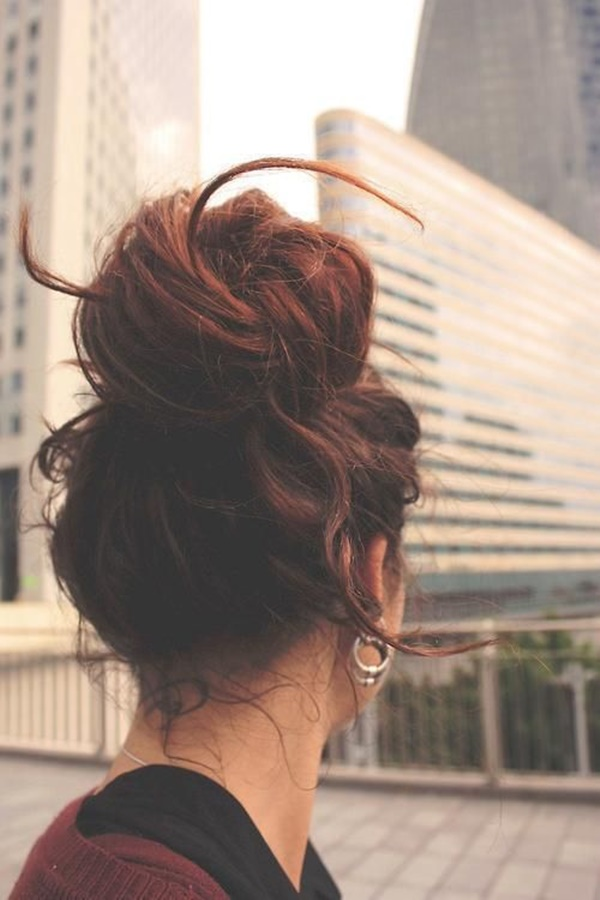 Easy Bun Hairstyles for Long Hair and Medium Hair97-messy bun