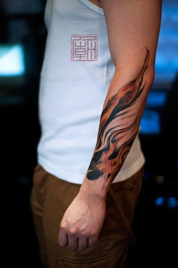 Forearm Tattoo Ideas and Designs 11-Flames tattoo