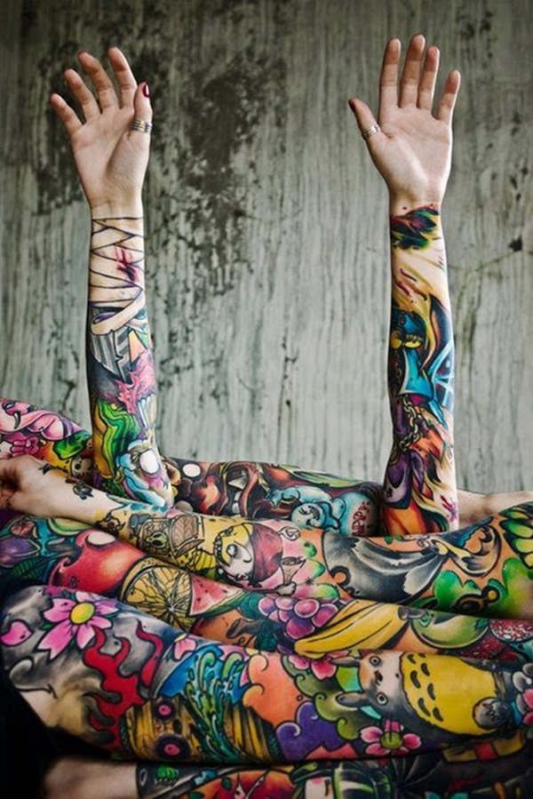 Forearm Tattoo Ideas and Designs 37-colorful tattoo sleeve