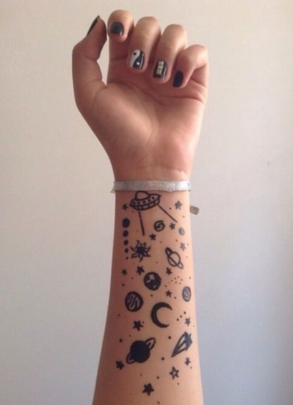 Forearm Tattoo Ideas and Designs 74- Galaxy tattoo design