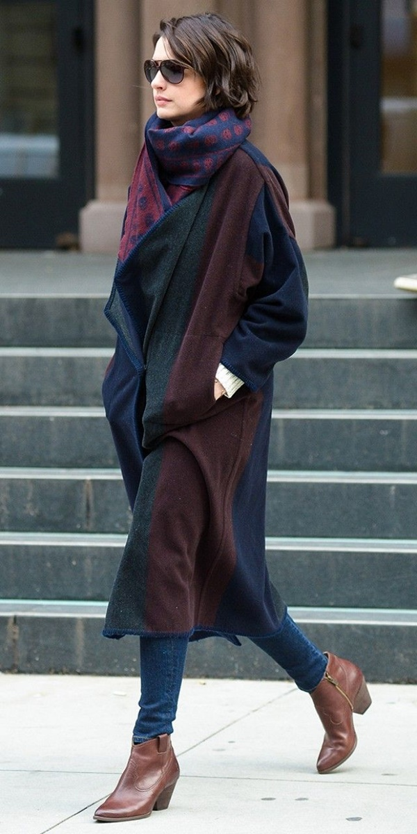 Celebrity Fashion Style Outfits26-Anne Hathaway wearing a luxe blanket coat with skinny jeans and tan leather boots