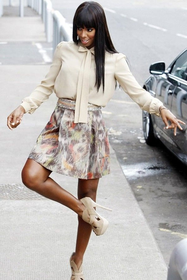Celebrity Fashion Style Outfits30-Kelly Rowland wears a beige pussybow blouse, print skirt and fierce heels