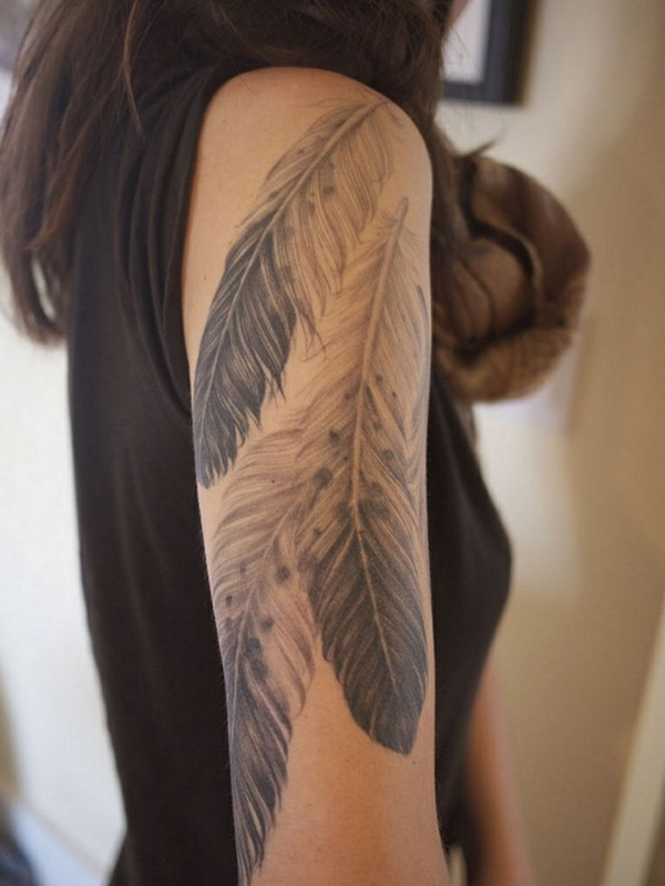 Half Sleeve Tattoos for Girls and Boys34- Feather