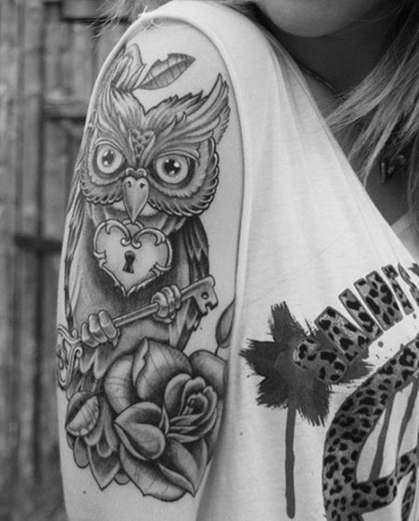 Half Sleeve Tattoos for Girls and Boys43-Owl Rose Tattoo