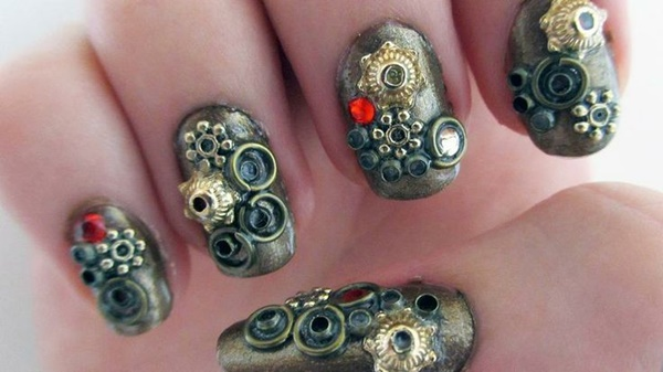 Simple Winter Nail Art Ideas for Short Nails205-steampunk nails