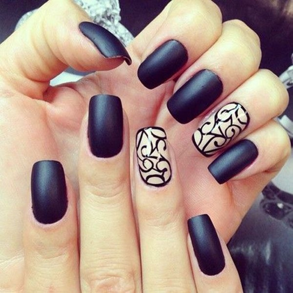 Simple Winter Nail Art Ideas for Short Nails208-Creative Swirl Nail Art