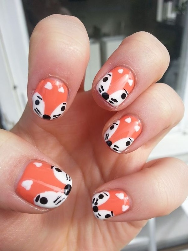 Simple Winter Nail Art Ideas for Short Nails209-foxes