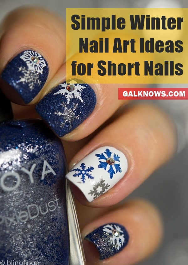 Simple Winter Nail art Ideas for Short Nails1.1