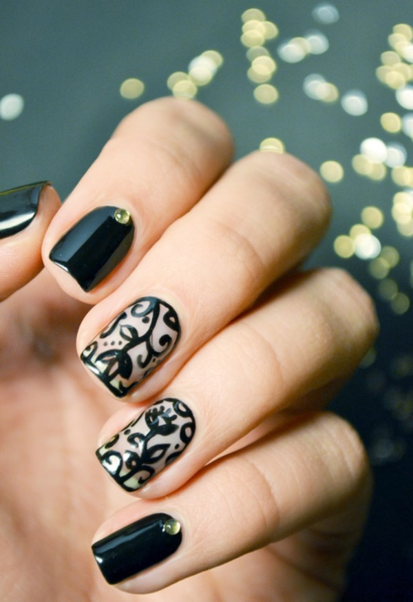 Black Nail Art Designs And Ideas 24