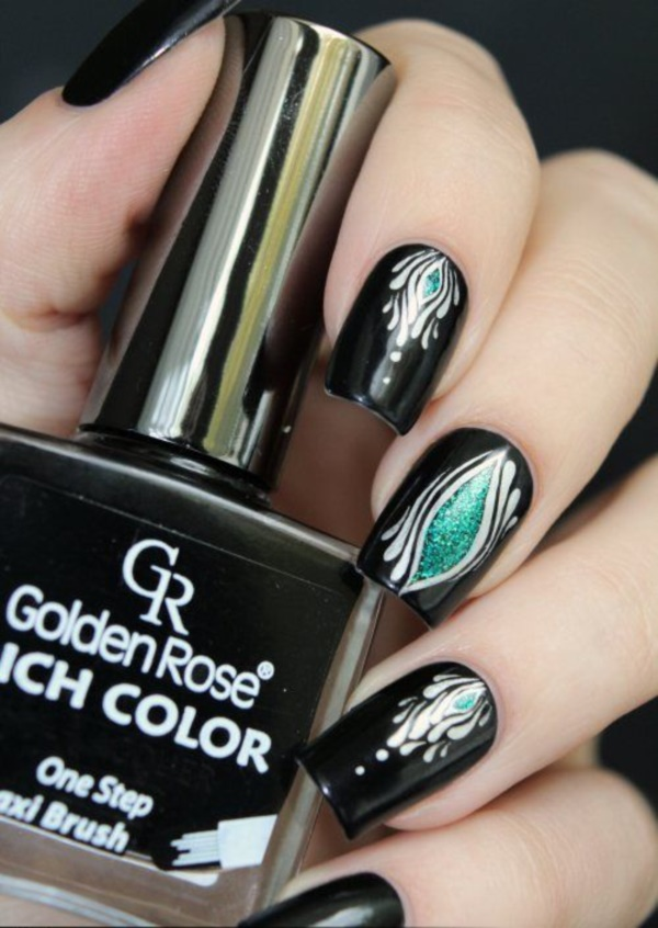 Black Nail Art Designs and Ideas (37) - Best 101 Sophisticated Black Nail Art Designs And Ideas