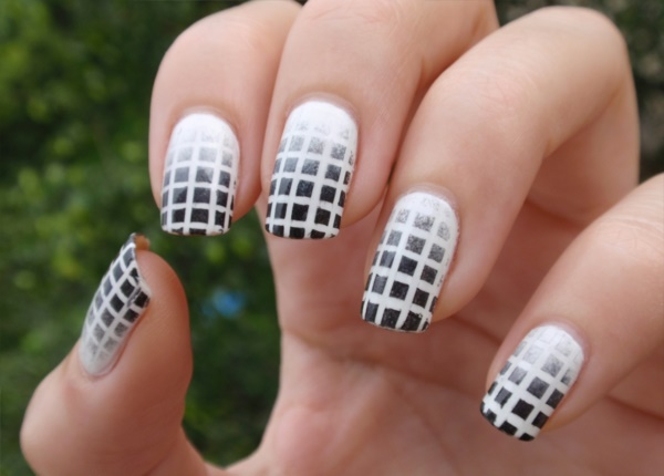 Best 101 sophisticated black nail art designs and ideas this is clearly a sticking tape effect on your nail cut thin sticking tapes and stick it so as to get a mat structure on your nails thereby using a sponge prinsesfo Choice Image