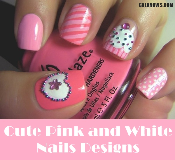 Pink And White Nail Art 11