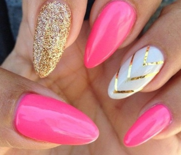 pink and white nail art (106)