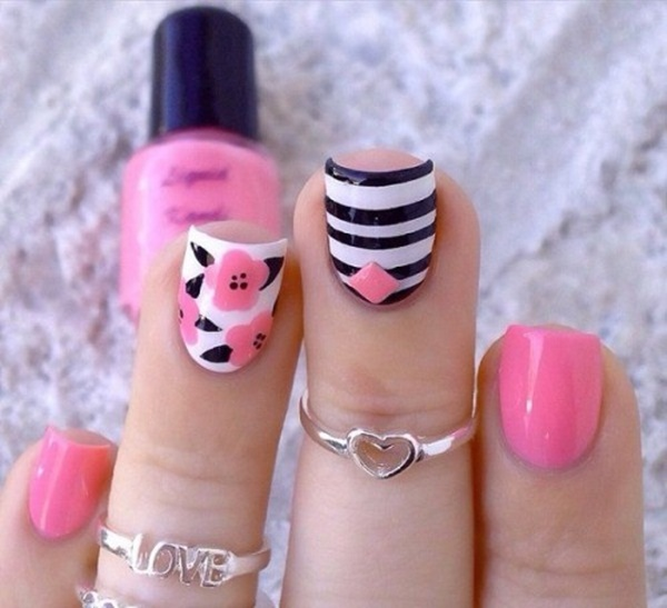pink and white nail art (108)