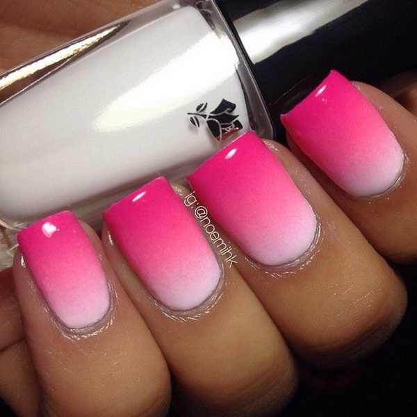 Bright Pink Nails With Design