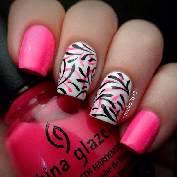 pink and white nail art (60)