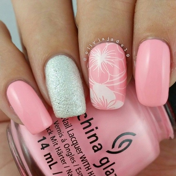 pink and white nail art (9) - 101 Cute Pink And White Nails Designs Worth Stealing