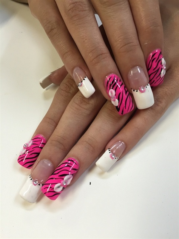 pink and white nail art (99)