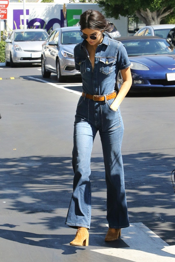 Friday, September 25, 2015 - Kendall Jenner's rocking a '70s vibe in a Frame denim wide-legged jumpsuit as she heads to the Fred Segal boutique in West Hollywood, after session at the recording studio. Jenner has recently been linked to Justin Bieber and to Orlando Bloom -- both of whom appear to be fighting for the young model's attention. X17online.com
