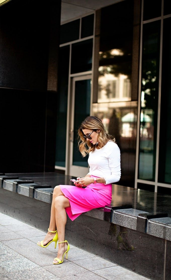 Flattering Skirt Outfits Ideas 17-pencil neon skirt