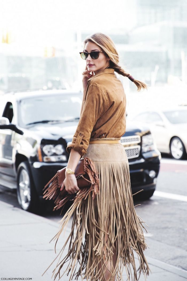 Flattering Skirt Outfits Ideas 18. Fringe Skirt
