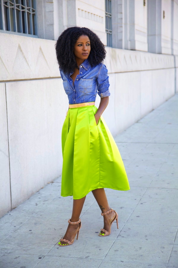 Flattering Skirt Outfits Ideas 22. box pleated neon skirt