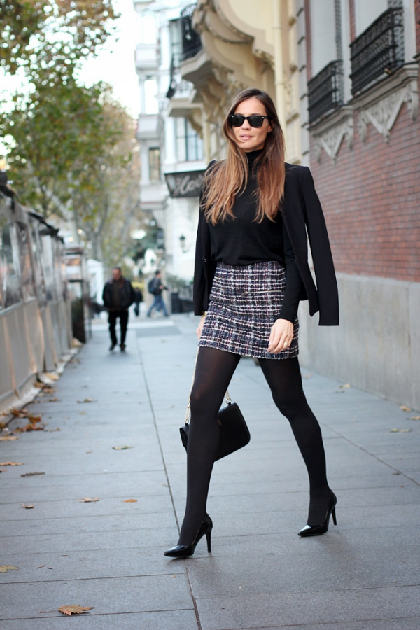 Flattering Skirt Outfits Ideas 34. tweed tube skirt