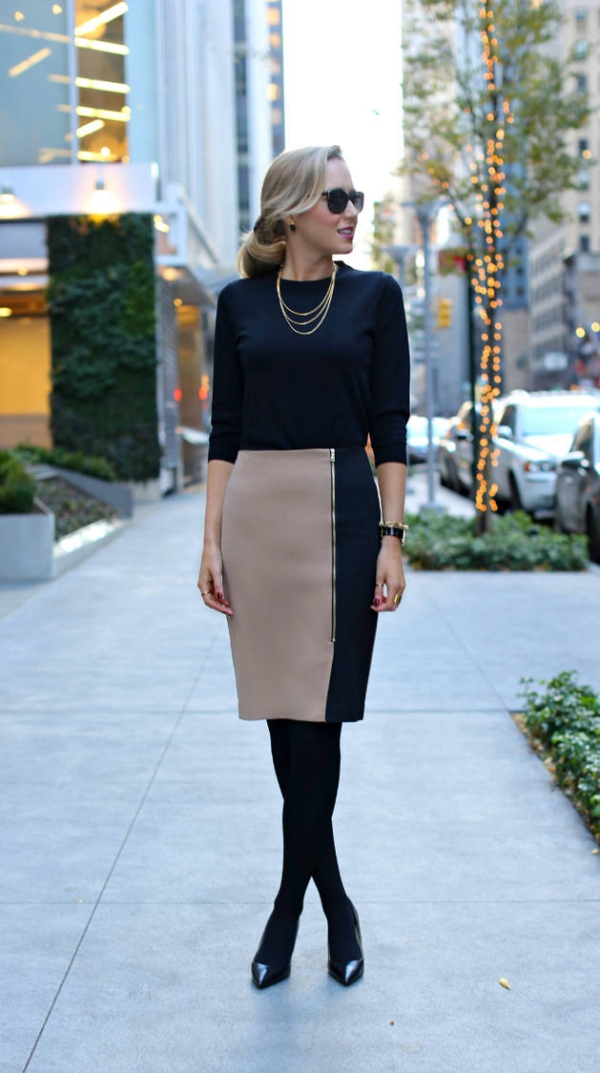 Flattering Skirt Outfits Ideas 40. zipped skirt
