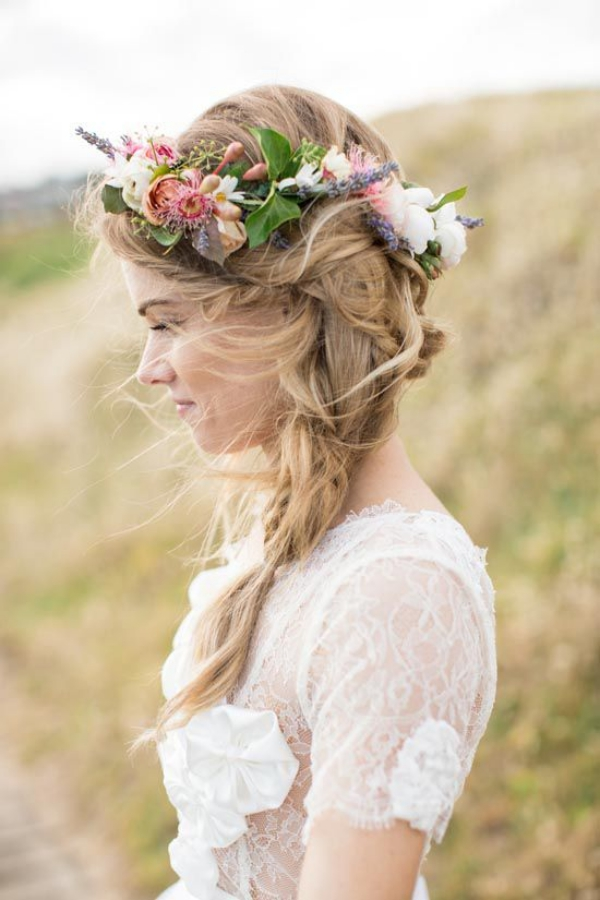 Long and Short Weddings Hairstyles35-windswept braid + floral crown