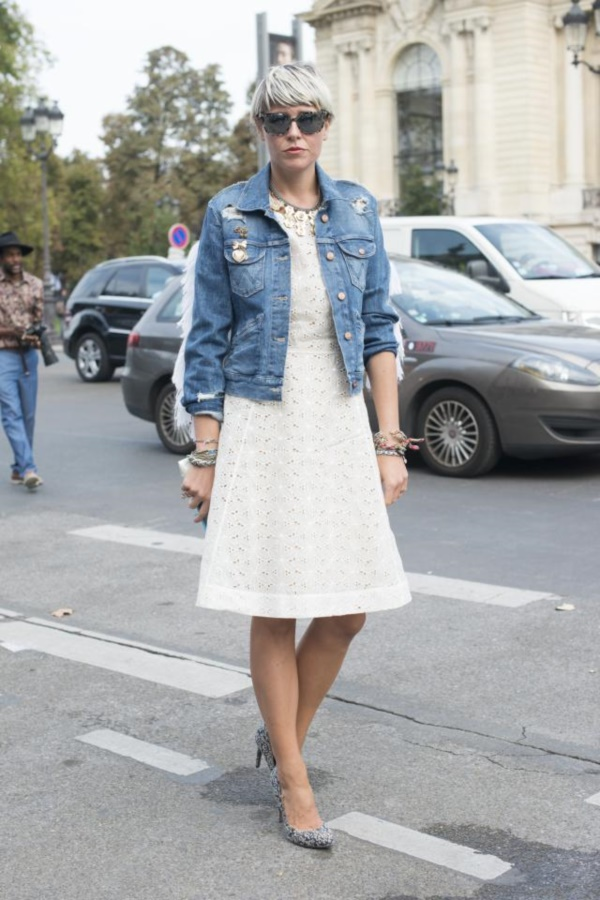 PARIS, FRANCE - SEPTEMBER 28: Fashion stylist Elisa Nalin wears Micheala Birger jacket and a Ventillo dress on day 5 of Paris Fashion Week Spring/Summer 2014, Paris September 28, 2013 in Paris, France. (Photo by Kirstin Sinclair/FilmMagic)