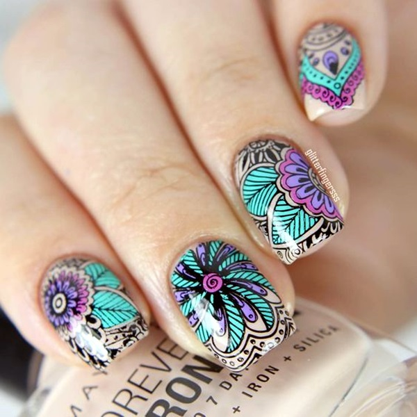 Cute Flower Nail Designs (11)