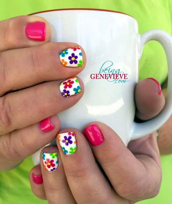 Cute Flower Nail Designs (42)