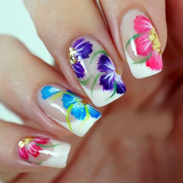 Cute Flower Nail Designs (5) - 101 Cute Flower Nail Designs That're Too Attractive To Handle