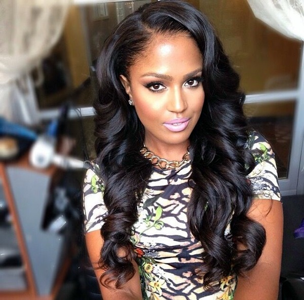 Long Hairstyles For Black Women With Bangs 71
